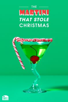 A drink that will steal the show at any holiday affair, sprinkled with crushed candy cane flair. Holiday party looks, Holiday party planning, Holiday glamming, Holiday tradition-making Cocktail Garnish, Cocktail Drinks, Christmas Drinks, Holiday Cocktails, Christmas Treats, Midori Melon, Mini Candy Canes, Bar Drinks