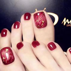 Enchanting Wine Red Nail Art Designs Ideas That Suitable For You - The art of fingernail decoration has been around for such a long time. What we call nail art these days actually originated from way, way back when pe. Toe Nail Color, Red Nail Art, Nail Colors, Bright Summer Acrylic Nails, Summer Toe Nails, Pretty Toe Nails, Cute Toe Nails, Pretty Toes, Toenail Art Designs