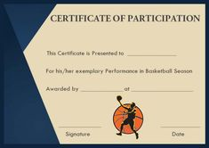 Basketball certificate of participation template basketball basketball participation certificate template yadclub Image collections