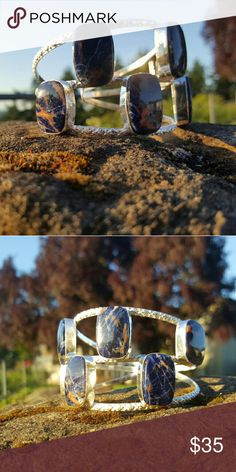 Sodalite bracelet Soladlite set in handcrafted 925 sterling silver cuff style bracelet Robin's Nest Jewels  Jewelry Bracelets