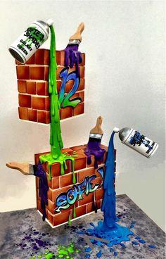 gateau anniversaire garçon pour adolescente fan de grafitti avec la forme de deux murs carrés