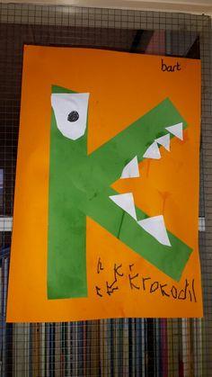 De k van Krokodil Preschool Fine Motor Skills, Letter Of The Week, Letter A Crafts, Crocodiles, Roald Dahl, Crafts For Kids, Baby Boy, Letters, Safari