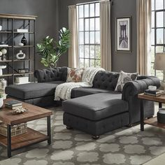 Knightsbridge Tufted Scroll Arm Chesterfield Sofa and Chaise Lounges by iNSPIRE Q Artisan (Grey Linen) (Fabric) Living Room Paint, Cozy Living Rooms, Living Room Grey, Living Room Sofa, Living Room Interior, Living Room Furniture, Living Area, Hall Interior, Couch Furniture