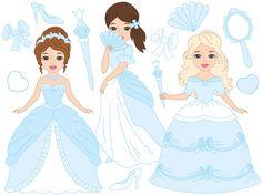 70% OFF SALE Princess Clipart - Digital Vector Princess, Girls, Fairy, Blue, Fairytale Clip Art #thecreativemill