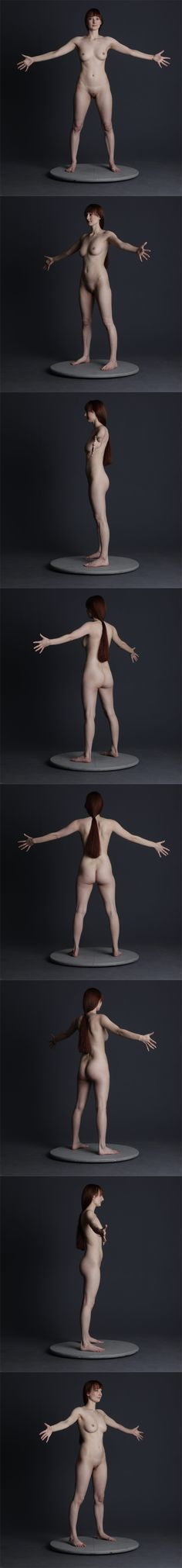 Nude figure drawing pose reference turn-around by http://mjranum-stock.deviantart.com
