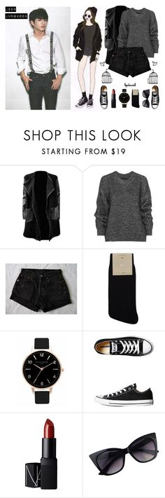 """His Future Girlfriend Style? ➳ Jungkook"" by llgalaxiall ❤ liked on Polyvore featuring Belstaff, Falke, Olivia Burton, Converse, NARS Cosmetics, women's clothing, women's fashion, women, female and woman"