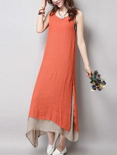 Vintage Women Sleeveless Pure Color Two-Layer Round Neck Ankle Length Dress Shopping Online - NewChic
