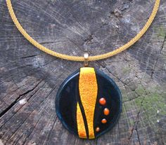 Statement Teal and Gold FUSED GLASS NECKLACE by DawnofCreationArt, $105.00