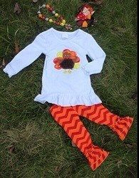 """Chevron Turkey Boutique Outfit With Necklace and Bow Price: $32.99 With Free Standard Shipping  Options: 2T-3T, 3T-4T, 4-5, 5-6, 6-7 White Long Sleeve Shirt and Chevron Ruffle Cuff Pants  Matching Chunky Necklace and Bow To purchase, comment """"Sold and option (eg. size/color)"""" Register here to get your invoice: https://www.soldsie.com/pin/571375"""