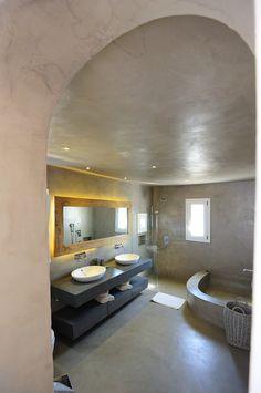 View of one of the bathrooms at Aesara Luxury Villa in Mykonos, Greece