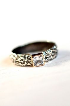 Rose Vine Engagement Ring Princess Cut White Sapphire, 14kt Gold, Sterling Silver