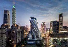The sustainable residential skyscraper was recognized by both unique architectural design and sustainable construction awards.  Co-designed by LKP Architecture, Vincent Callebaut, and SED-IA Architecture #architecture #greenbuilding #nightview #asia #taipei #ecofriendly