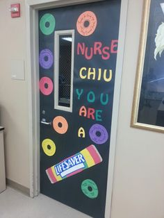 """Made this for our school nurse for nurse appreciation day.  Had teachers write on """"lifesavers"""" to express their gratitude."""