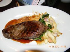 Charred Strip Steak - with five-cheese baked Mac n cheese. Mama Melrose's Disney's Hollywood Studios