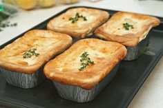 Chicken pot pies:) Comfort food at its best. The blogger used disposable mini-loaf tins and the recipe filled about four of them. Delish!