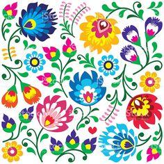 Floral polnischen Kunst Muster im Quadrat Lizenzfreies vektor illustration