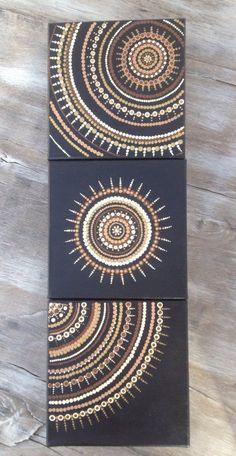 Crafts Canvas Earth toned natural trio dot art painting on canvas art mandala Mandala Art, Mandalas Painting, Mandala Canvas, Dot Art Painting, Abstract Art, Diy Canvas Art, Canvas Canvas, Aboriginal Art, Stone Art