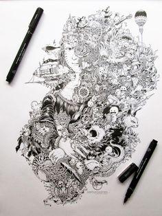 Monalisa plus doodle sketch. Can also be an artist reference --- monalisa Art And Illustration, Ink Illustrations, Magazine Illustration, Drawing Sketches, Art Drawings, Stylo Art, Arte Van Gogh, Pen Doodles, Art Disney