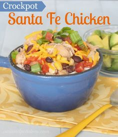 Crockpot Santa Fe Chicken - this is so easy and so healthy.  Love this recipe.