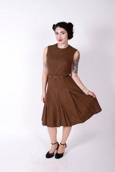 Vintage 60s Dress Brown Linen Mod 1960s Vintage by stutterinmama, $58.00