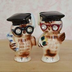 Vintage 1956 Owl Salt and Pepper Shakers with by NevermoreVintage