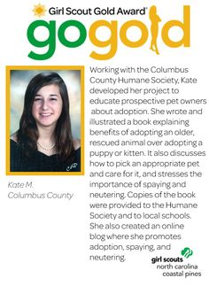 Great job to Kate on earning her Girl Scout Gold Award! Kate worked with the… Girl Scout Law, Girl Scouts, Girl Scout Silver Award, Stem Skills, Bronze Award, Usa Girls, Online Blog, She Girl, Girl Scout Cookies