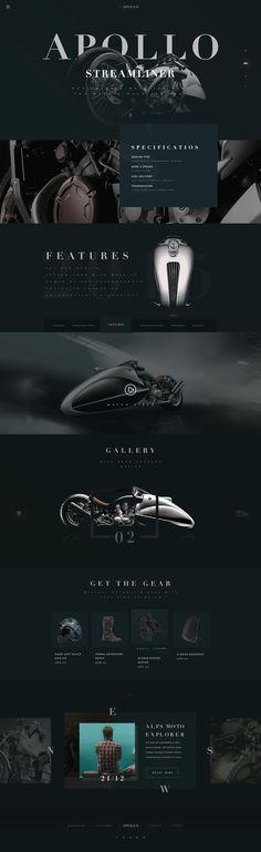 APOLLO by Nick Buturishvili.  Futuristic motorcycle website design concept