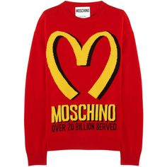 Moschino Intarsia wool and cashmere-blend sweater (12.410.020 VND) ❤ liked on Polyvore featuring tops, sweaters, shirts, moschino, red, cashmere blend sweater, red top, wool sweaters and shirt sweater