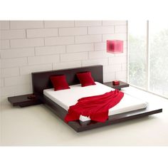 King Modern Japanese Style Platform Bed with Headboard and 2 Nightstands in Espresso-Bedroom > Bed Frames > Platform Beds-Loluxe