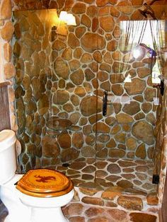 Log home rock shower Rock Shower, Stone Shower, Log Home Bathrooms, Modern Log Cabins, Log Home Living, Log Home Interiors, Log Cabin Homes, Creative Home, Creative Ideas