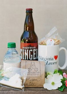 Wedding Welcome Gifts-Ours included a bottle of water, homemade VA cookie, mints, maps of the shopping area nearby and beer trail, as well as Greetings from RVA postcard welcoming the guests! Wedding Pins, Wedding Trends, Wedding Designs, Wedding Favors, Wedding Ideas, Wedding Welcome Baskets, Informal Weddings, Guest Gifts, Wedding Planning Checklist