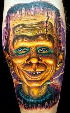 Alfred E. Newman Frankenstein Tattoo by Cecil Porter