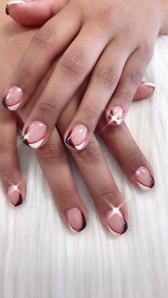 Red white and black Pedicure At Home, Pedicure Nail Art, Toe Nail Art, Nail Spa, Blush Pink Nails, Red Nails, White Nails, Summer Toe Nails, Japanese Nail Art
