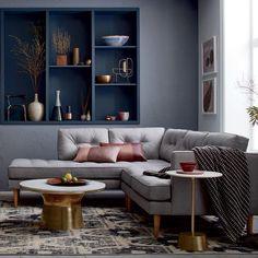 The 5 Minute Rule For Living Room Design Furniture Sofa Set 161 - fancyhomedecors Grey Walls Living Room, Living Room Color Schemes, Living Room Interior, Home Living Room, Living Room Designs, Gray Walls, Colour Schemes, Living Spaces, Small Room Design