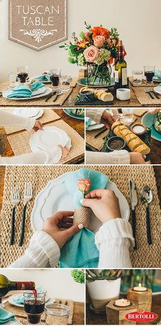 For an inspired spring tablescape, choose crockery with beautiful, fresh colors that complement a lighter cloth. Try using rustic crates as candle-holders for texture and layer your plates to add depth.