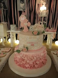 This Shabby chic Communion celebration is so beautiful. Just look at the amazing cake!! Love the cross cookies topper! See more party ideas and share yours at CatchMyParty.com