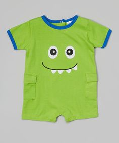 Look what I found on #zulily! Little Beginnings Green Monster Romper by Little Beginnings #zulilyfinds