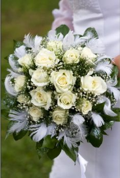 White Rose Bouquet - Unique Bridal Bouquet, but maybe with black feathers