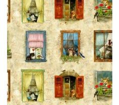 Tecido para Patchwork Window Cats and Tails