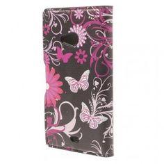 Lumia 535 kukkia ja perhosia puhelinlompakko