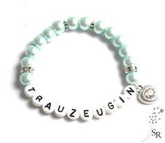 Accessoires - Perlen Strass Armband Trauzeugin edel Geschenk Hochzeit mintgrün Glitzer Herz - ein Designerstück von sweetrosy bei DaWanda