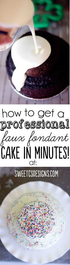 How to get a professional faux fondant cake look in minutes- this tip at sweetcsdesigns.com is life-changing! There are also ways to do it f...