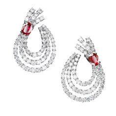 """Haute Joaillerie – Adler Joailliers Earrings """"Aurora"""" in 18kt white gold set with 2 rubies 3.64 cts and diamonds 20.48 cts"""
