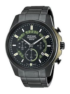Pulsar Mens PT3523 On The Go Analog Display Japanese Quartz Black Watch ** Want to know more, click on the image.
