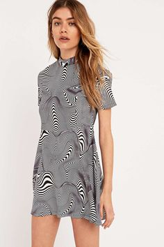 UNIF Cid Mini Dress in Black and White - Urban Outfitters