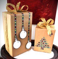 Envoltorios de Navidad con washi tape. Ideas para decorar el cole.