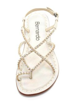 Bernardo Mariko Jeweled Sandal - delicate - Round toe loop - Ankle strap with adjustable buckle closure - Crisscross vamp with jewel embellishment - Lightly cushioned footbed - Imported Materials Leather upper, rubber sole Cute Sandals, Shoes Sandals, Dress Shoes, Sparkly Sandals, Flat Sandals, Wedding Flats, Jeweled Sandals, Prom Heels, Hot Shoes