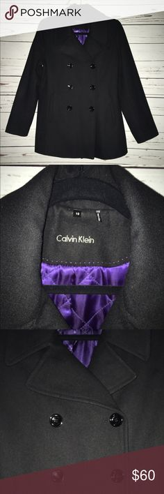 Calvin Klein Pea Coat Black Calvin Klein Pea Coat in Great condition! Calvin Klein Jackets & Coats Pea Coats