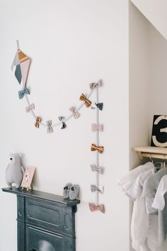 Handmade Kite Made From H&m Cushion Covers Over Victorian Fireplace - Image By Adam Crohill. Pale Grey, Neutral Nursery With Subtle Blush, Blue And Mustard Accents diy kid room decor The Nursery Tour - Rock My Style Nursery Room, Nursery Decor, Room Decor, Baby Bedroom, Nursery Ideas, Kid Decor, Nursery Furniture, Wooden Furniture, Girl Nursery