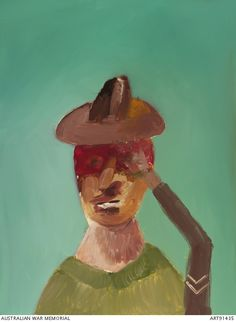 Head of Gallipoli soldier saluting by Sidney Nolan. From his Gallipoli series. From the Australian War Memorial. Australian Painting, Australian Artists, Sidney Nolan, University Of South Australia, Victoria Art, Sculpture, Printmaking, Art Projects, Art Gallery